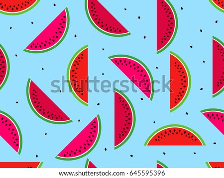 Seamless pattern with watermelons. Slices of watermelon with seeds. Vector illustration