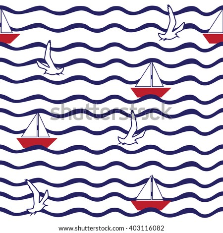 Seamless pattern with wave, sailing boat, flying gulls.