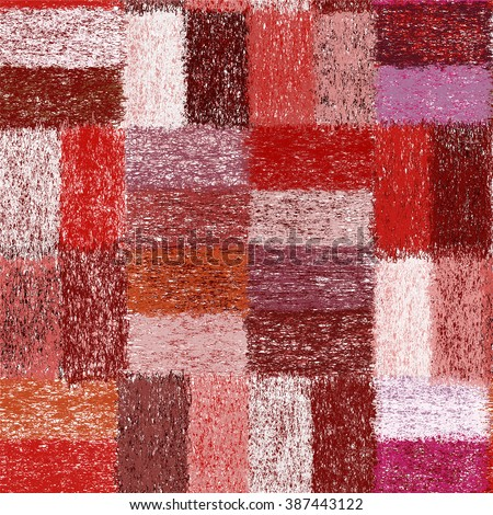 Seamless pattern with weave grunge striped colorful rectangular elements for plaid, carpet, cloth