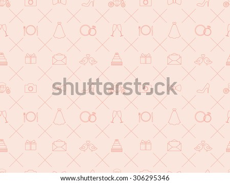 Seamless pattern with wedding elements - stock vector