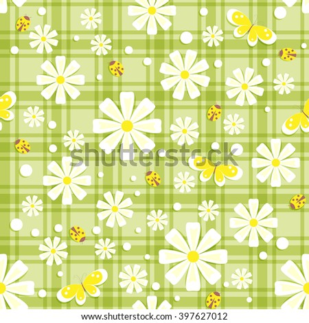seamless pattern with white and yellow flowers, butterflies, ladybirds and different dots in  green plaid background, vector illustration - stock vector
