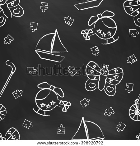 Seamless pattern with white children's chalk drawings. Hand-drawn style. Seamless vector wallpaper with the image Rolling toys, butterfly, helicopter, boat, puzzle - stock vector