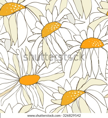 Seamless pattern with white drawn flowers. Background with chamomiles. Nature endless texture - stock vector