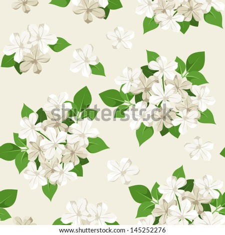 Seamless pattern with white flowers. Vector illustration. - stock vector