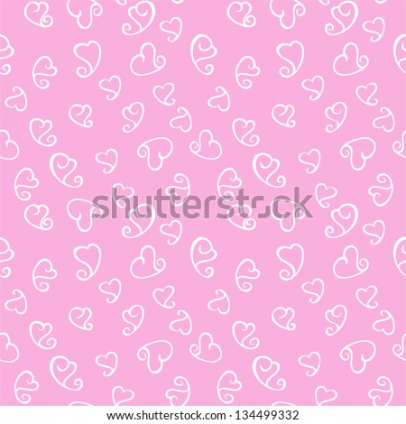 Seamless pattern with white hearts on pink background