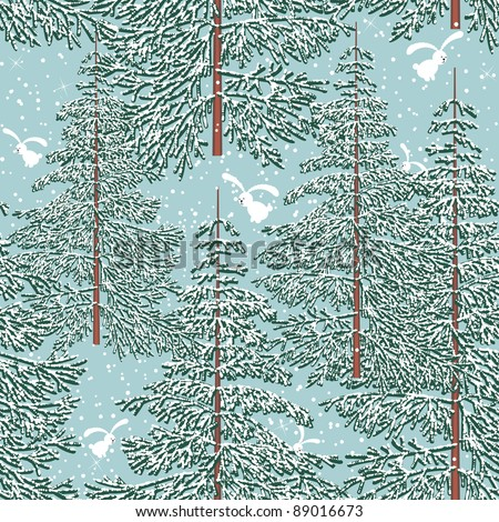 Seamless pattern with winter forest and rabbits - stock vector