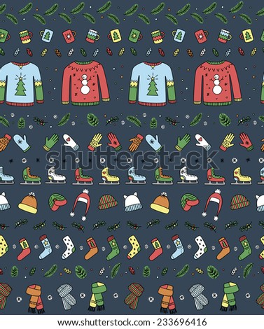 Seamless pattern with winter season accessories 2 - stock vector
