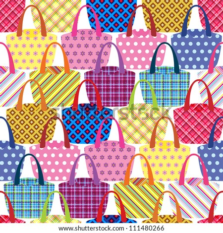 seamless pattern with womens bags - stock vector