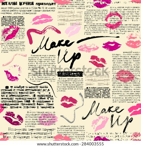 seamless pattern word makeup prints lipstick stock vector royalty