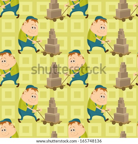 Seamless pattern with workers, porters with baggage trolleys, cartoon characters on abstract yellow background. Vector - stock vector