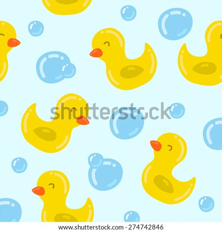 Seamless pattern with yellow ducks - stock vector