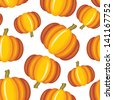 Seamless pattern with yellow pumpkin - stock vector