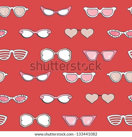 Seamless pattern, Women's fashion isolated sunglasses vector set. Template frame design for card, fashion theme. Useful for packaging, invitations, decoration,  etc