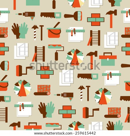 Seamless pattern working tools icons. Home repair. - stock vector