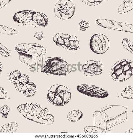 Seamless patterns - bakery products and bread. isolated vector. for packaging design and menu. vintage. dark elements on a light background