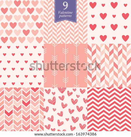 Seamless patterns for Valentine's day, set of 9 - stock vector