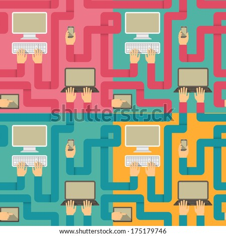 Seamless patterns in flat style with a computer, laptop, tablet and smart phone connected with hands in four color variations - stock vector