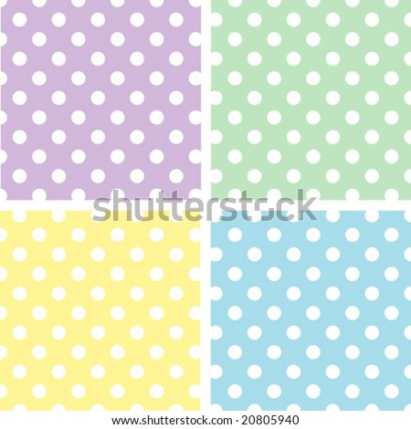 Seamless Patterns: Large White Polka Dots on Pastel Lavender, Yellow, Aqua, Green. EPS8 includes four pattern swatches (tiles) that will seamlessly fill any shape.