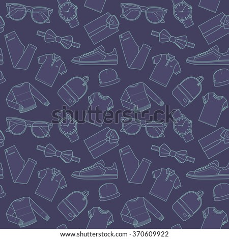 Seamless patterns of male clothes, shoes and accessories for online store in hipster style. Men's wear backgrounds for shops. Thin lines.  Vector stock clipart. - stock vector