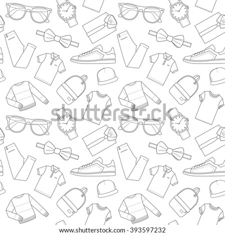 Seamless patterns of male clothes, shoes and accessories for online store. Men's wear backgrounds for shops. Thin lines.  Vector stock clipart. - stock vector