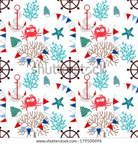 Seamless patterns of marine symbols. Use to create quilting patches or seamless backgrounds for various craft projects.