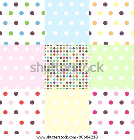 seamless patterns, polka dot set - stock vector