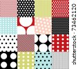 seamless patterns, polka dots set - stock vector