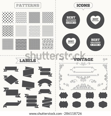 Seamless patterns. Sale tags labels. Best boyfriend and girlfriend icons. Heart love signs. Award symbol. Vintage decoration. Vector - stock vector