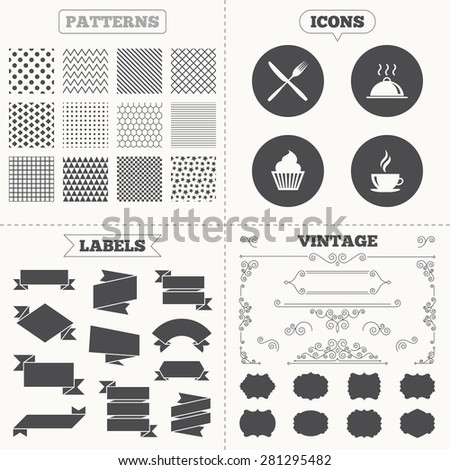 Seamless patterns. Sale tags labels. Food and drink icons. Muffin cupcake symbol. Fork and knife sign. Hot coffee cup. Food platter serving. Vintage decoration. Vector - stock vector