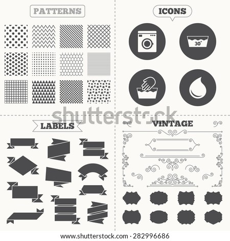 Seamless patterns. Sale tags labels. Hand wash icon. Machine washable at 30 degrees symbols. Laundry washhouse and water drop signs. Vintage decoration. Vector - stock vector