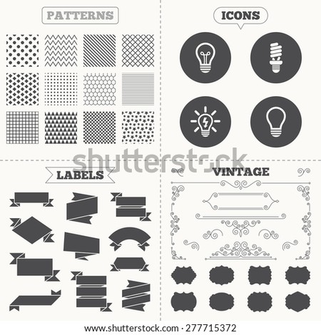 Seamless patterns. Sale tags labels. Light lamp icons. Fluorescent lamp bulb symbols. Energy saving. Idea and success sign. Vintage decoration. Vector - stock vector