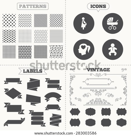 Seamless patterns. Sale tags labels. Maternity icons. Baby infant, pregnancy and buggy signs. Baby carriage pram stroller symbols. Head with heart. Vintage decoration. Vector - stock vector