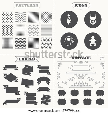 Seamless patterns. Sale tags labels. Maternity icons. Baby infant, pregnancy and dummy signs. Child pacifier symbols. Head with heart. Vintage decoration. Vector - stock vector