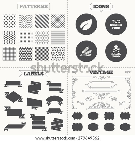Seamless patterns. Sale tags labels. Natural food icons. Halal and Kosher signs. Gluten free. Chief hat with fork and spoon symbol. Vintage decoration. Vector - stock vector