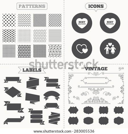 Seamless patterns. Sale tags labels. Valentine day love icons. Best girlfriend and boyfriend symbol. Couple lovers sign. Vintage decoration. Vector - stock vector