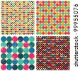 Seamless patterns set: balls, zigzags #2 - stock vector