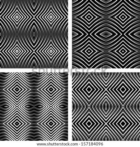 Seamless patterns set in op art design. Vector graphic. No gradient. - stock vector