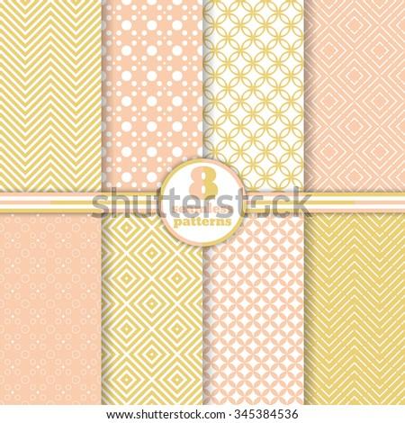 Seamless patterns set. Modern stylish textures. Regularly repeating elegant geometric ornaments. Rhombus. Zigzag. Dot. Vector element of graphical design