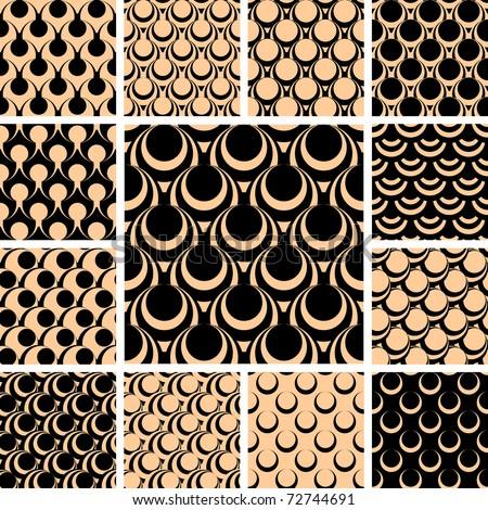 Seamless patterns set. Vector illustration. - stock vector