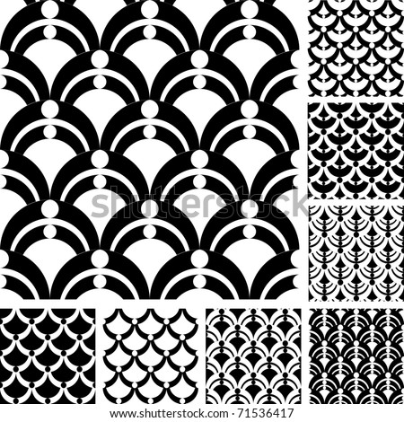 Seamless patterns set with semicircular elements. Vector illustration. - stock vector
