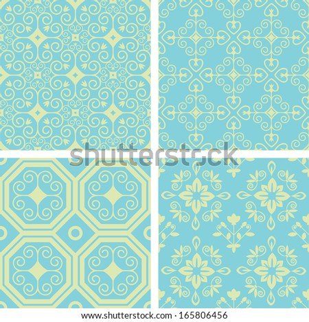 Seamless patterns with abstract decorative ornament - stock vector