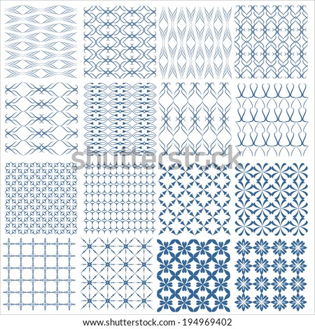 Seamless patterns with abstract decorative ornament. Vector illustration. - stock vector