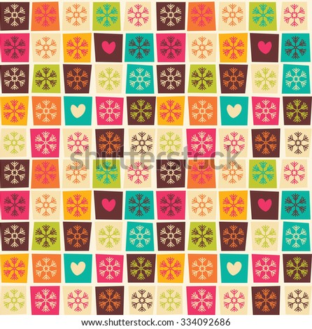 Seamless patterns with colorful squares and snowflakes, vector illustration - stock vector