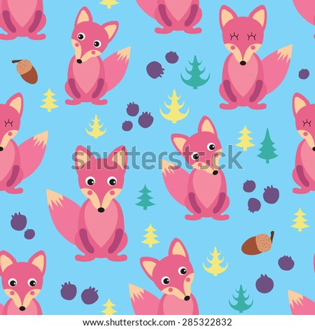 Seamless patterns with cute foxes - stock vector