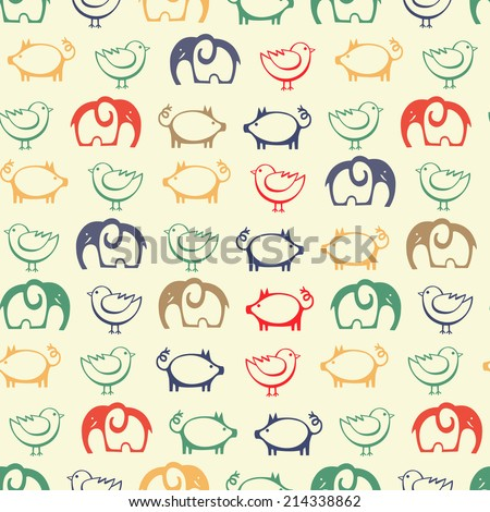 Seamless patterns with cute funny animals. Baby shower retro vector illustration. - stock vector