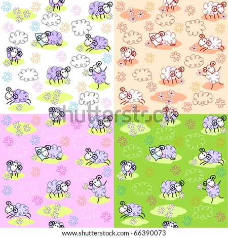 Seamless patterns with cute sheep - stock vector