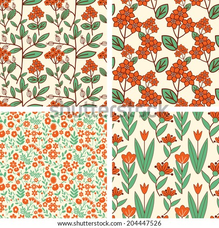 Seamless patterns with decorative ornament