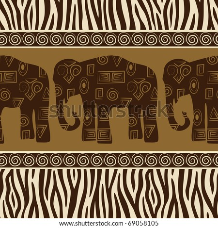 Seamless patterns with elephants and zebra skin. - stock vector