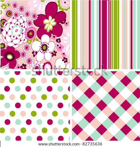 seamless patterns with fabric texture - stock vector
