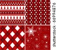 seamless patterns with fabric texture, christmas texture - stock vector